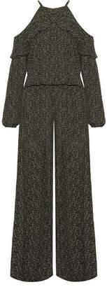 MICHAEL Michael Kors - Cole Cold-shoulder Printed Chiffon Jumpsuit - Dark green $165 thestylecure.com