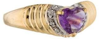 Ring 14K Amethyst Heart & Diamond