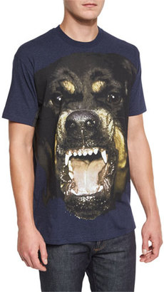 Givenchy Columbian-Fit Rottweiler Melange T-Shirt, Navy $590 thestylecure.com