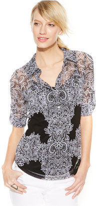 INC International Concepts Tab-Sleeve Lace-Print Blouse $64.50 thestylecure.com