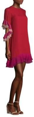 Sachin + Babi Flo Ruffled Colorblock Silk Shift Dress