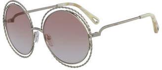 Chloé Carlina Round Concentric Metal Sunglasses