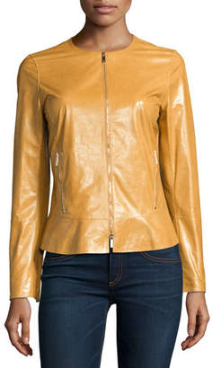 Lafayette 148 New York Linda Lacquered Lamb Leather Zip-Front Jacket, Camel $1,098 thestylecure.com