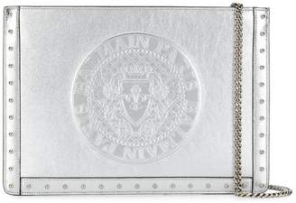 Balmain debossed logo clutch bag