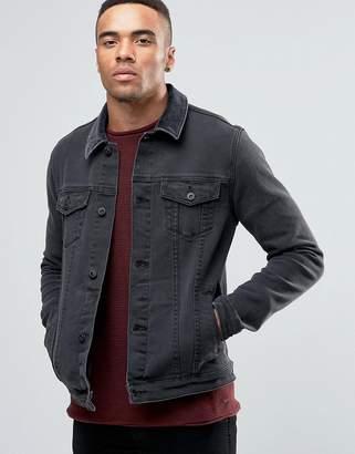 Asos DESIGN Skinny Fit Denim Jacket With Cord Collar In Black
