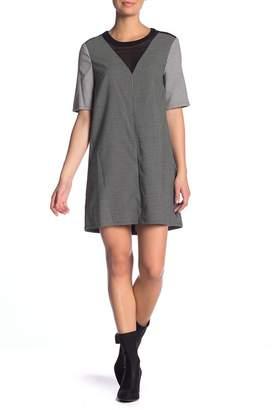BCBGeneration Front Mesh Print Short Sleeve Dress