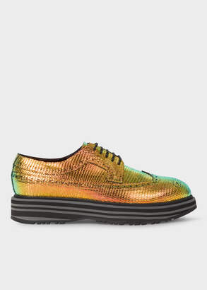 Paul Smith Women's Iridescent Leather 'Grand' Brogues With Striped Soles