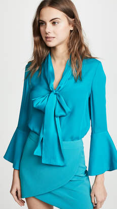 Alice + Olivia Meredith Tie Neck Button Down