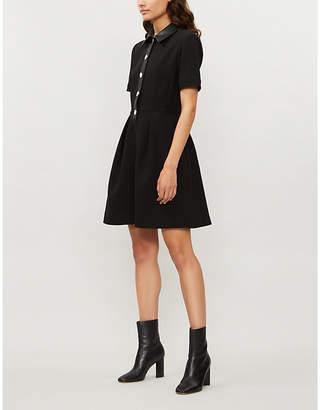 Claudie Pierlot Replay faux-leather trim dress