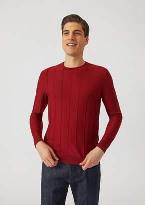 Emporio Armani Pure Virgin Wool Sweater With Drop-Stitch Motif