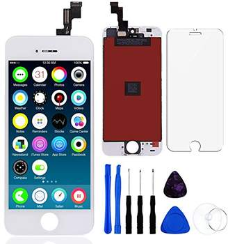 For iPhone SE LCD Display Touch Screen Digitizer Replacement with Repair Kit + Tempered Glass (White)