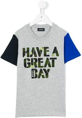 Diesel colour block slogan T-shirt