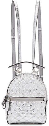 Valentino Silver Garavani Metallic Rockstud Backpack