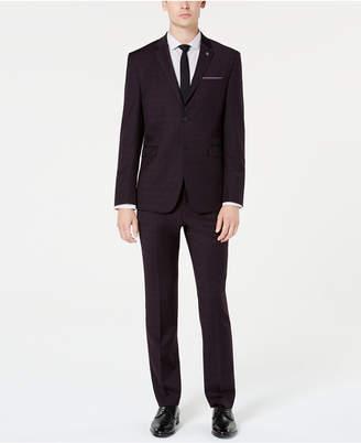 Original Penguin Men's Slim-Fit Stretch Maroon/Navy Plaid Suit