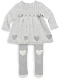 Baby Girl's Two-Piece Heart Sweater Dress & Tight Set