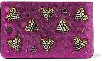 Christian Louboutin Loubiposh Embellished Metallic Raffia Clutch - Magenta