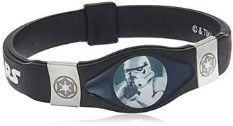 Star Wars Jewelry Unisex Stormtrooper Steel and Black Silicon Kid's Bracelet