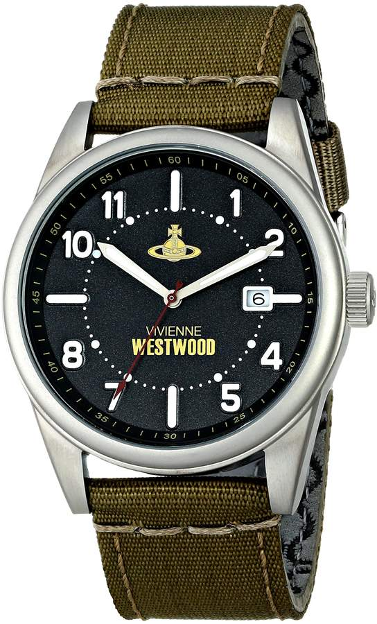 Vivienne Westwood Butlers Wharf Men's Quartz Watch with Dial Analogue Display and Green Nylon Strap VV079BKGR