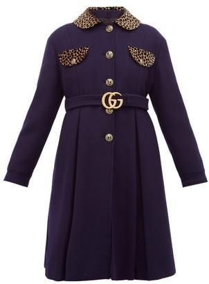 Gucci Leopard Print Trim Single Breasted Wool Coat - Womens - Blue Multi
