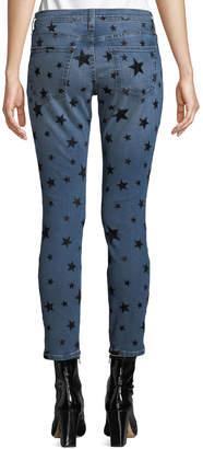 Current/Elliott The Stiletto Flocked-Star Skinny Jeans
