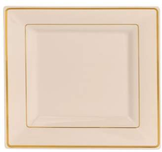 "Kaya Collection - Disposable Bone with Gold Rim Plastic Square 9.5"" Dinner Plates - 2 Pack (20 Plates)"