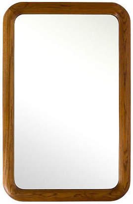 One Kings Lane Vintage Large Oak Mirror with Rounded Corners - Janney's Collection