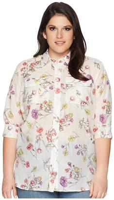 Lauren Ralph Lauren Plus Size Floral Cotton-Blend Shirt Women's Clothing