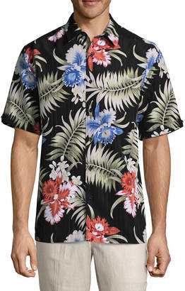 HAVANERA Havanera Havanera Tropical Prints Short Sleeve Floral Button-Front Shirt-Big and Tall