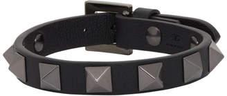 Valentino Black Garavani Leather Tonal Rockstud Bracelet