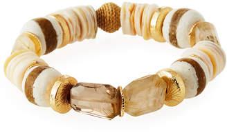 Akola Quartz Striped Glass Bead Bracelet