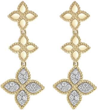 Roberto Coin 'Princess Flower' diamond 18k yellow gold link drop earrings