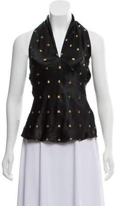 Ralph Lauren One-Shoulder Polka-Dot Sleeveless Top w/ Tags Black One-Shoulder Polka-Dot Sleeveless Top w/ Tags