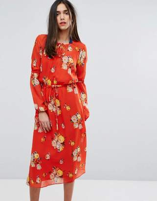 Warehouse Floral Tie Waist Midi Dress