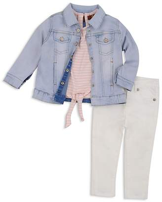 7 For All Mankind Girls' Jean Jacket, Tie-Front Tee & White Jeans Set - Baby