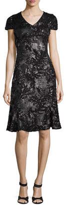 Talbot Runhof V-Neck Cap-Sleeve Sequined Dress with Flared Hem