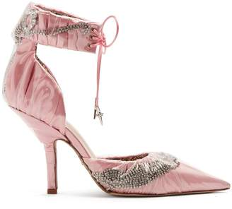 Cesare Paciotti BY MIDNIGHT Crystal-embellished ankle-tie satin pumps
