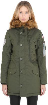 Nylon Coat W/ Faux Fur Coat $321 thestylecure.com
