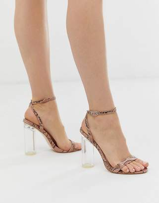 Public Desire snakeskin barely there sandal with clear heel