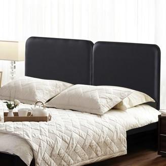 GranRest Upholstered Faux Leather Headboard Steel Simple Black