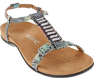 Vionic Orthotic Embellished T-strap Sandals -Navassa