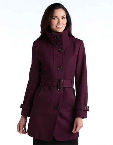 Portrait Wool Blend Funnel Trench Coat