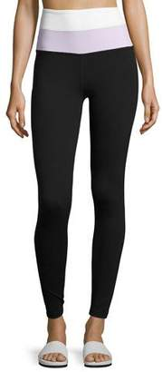 Beyond Yoga x kate spade new york blocked high-waist leggings, black/lilac/white $119 thestylecure.com