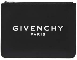 Givenchy Large Leather Pouch - Mens - Black White