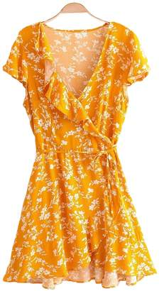 Goodnight Macaroon 'Pam' Floral Print Ruffle Side Tied Wrap Dress