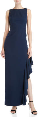Vince Camuto Navy Side Ruffle Gown