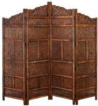 "DecMode 80"" x 72"" Large 4-Panel Brown Wood Screen Decorative Room Divider"