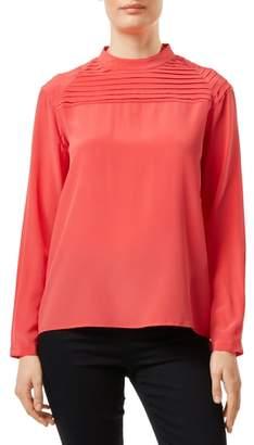 J Brand Chrystal Pleated Silk Blouse