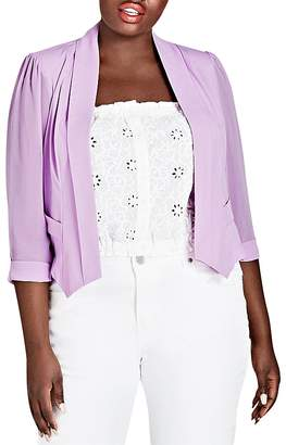 City Chic Plus Shawl Lapel Crop Blazer