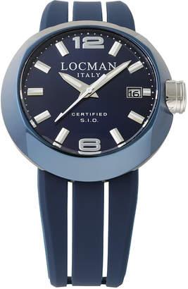 Locman (ロックマン) - LOCMAN ラウンドウォッチ デイト表示 取替ベルト付 ケース:ブルー ベルト:ブルー、ホワイト