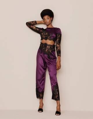 Agent Provocateur Nayeli Pyjama Bottom Plum and Black